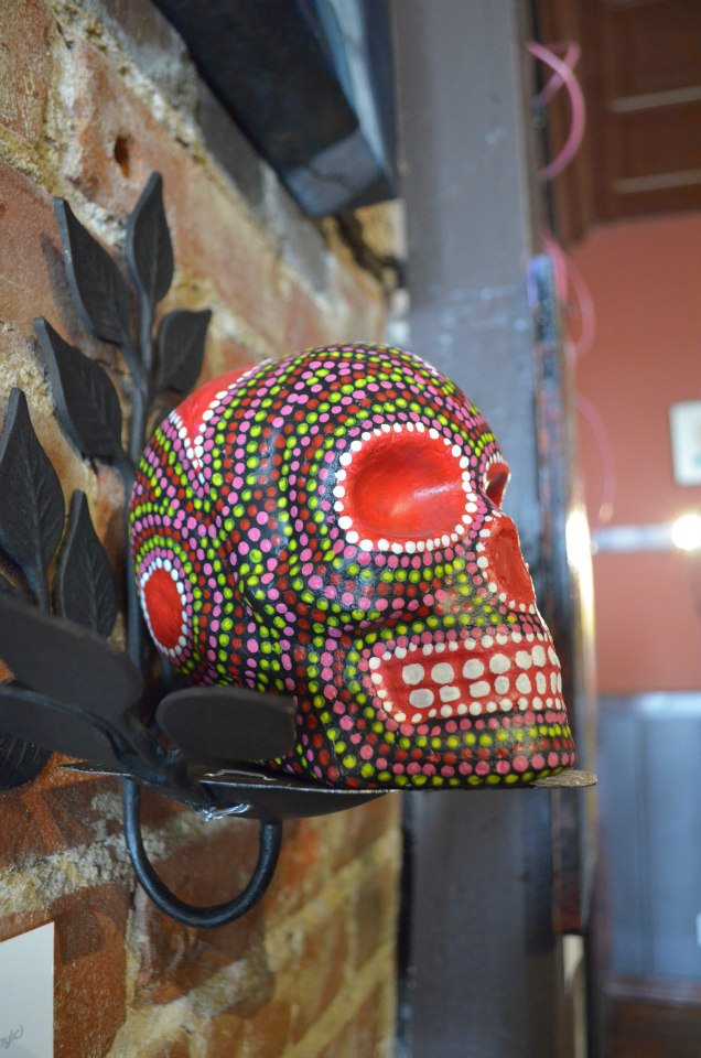 "Native Flower Robert Puhl Born[again] Painted Paper Mache Skull (Acrylic) 4.5"" x 7"" on metal stand $50"