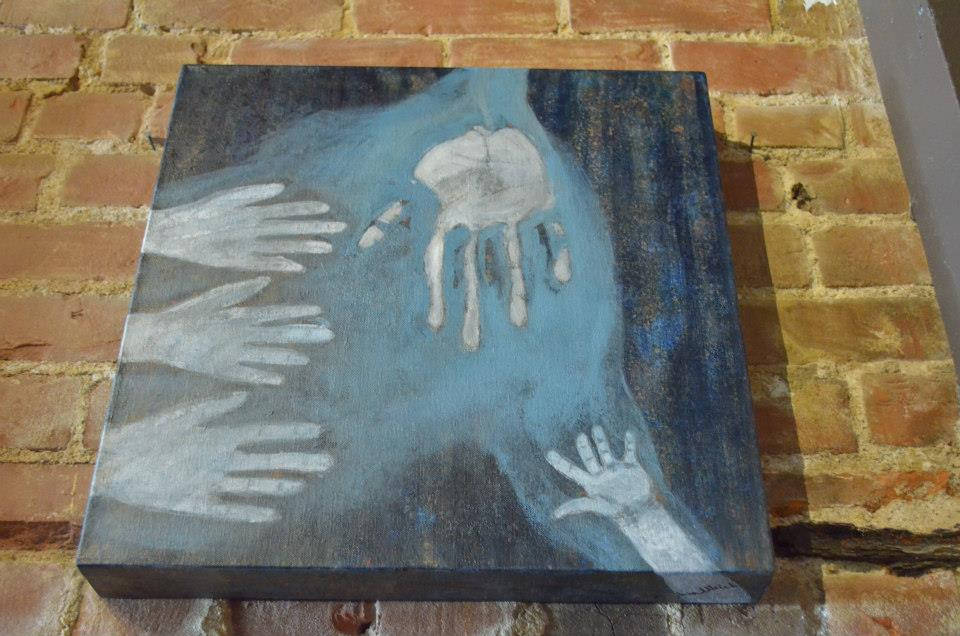 Two and A Quarter Square Feet of Hands Cynthia Ulrich Hands & [fEEt] acrylic 18 x 18 175
