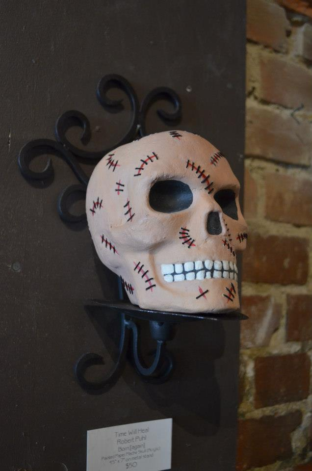 "Time Will Heal Robert Puhl Born [again] Painted Paper Mache Skull (Acrylic) 4.5"" x 7"" on metal stand $50"