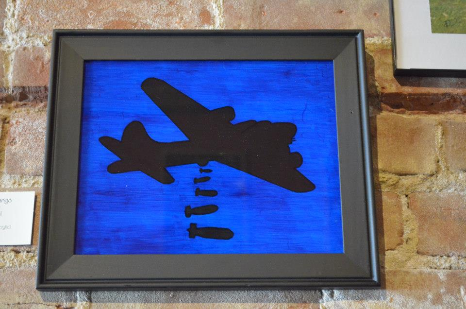 "Three Mike Tango  (Night Sortie) Robert Puhl Born[again] Underpainted Glass (Acrylic) 8"" x 10"" SOLD"