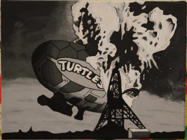 The turtle Blimp Disaster | Kevin Heesacker | Acrylic on Canvas | 12x16 | $50