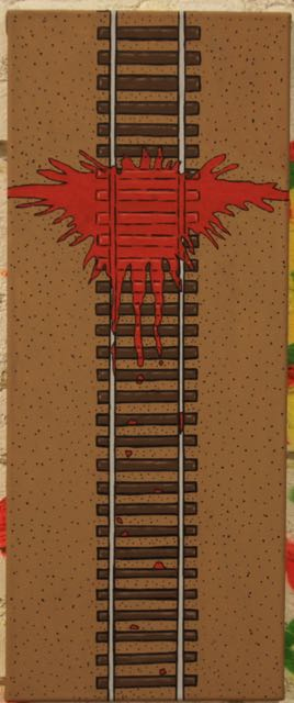 Crossed the Tracks | Kevin Heesacker | Acrylic on Canvas | 11 x 27 | $50