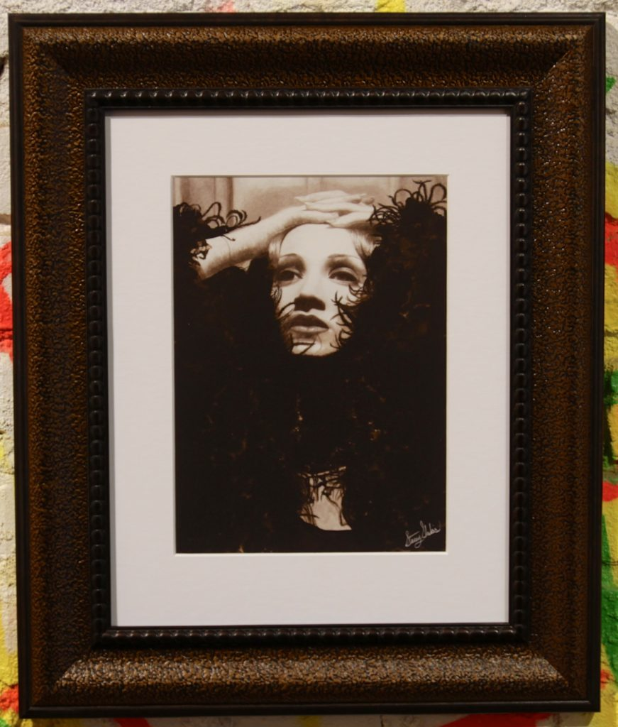 Marlene Dietrich's Feather Boa | Stacey Shukis Hand embellished print of Graphite and India ink | 18x15 | sold