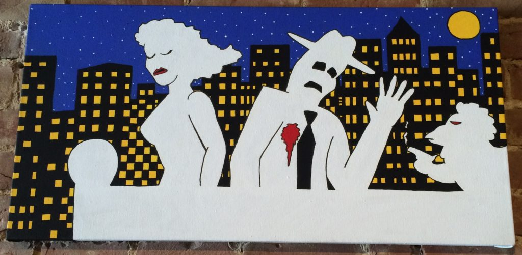 "A Guy, His Chicken, and the Femme Fatale Kevin Heesacker Acrylic on Canvas | 16"" x 32"" 